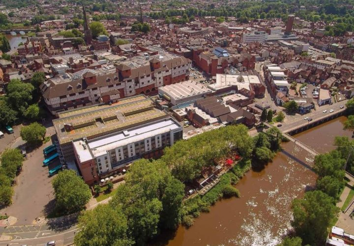 An aerial image of Smithfield Riverside, Shrewsbury