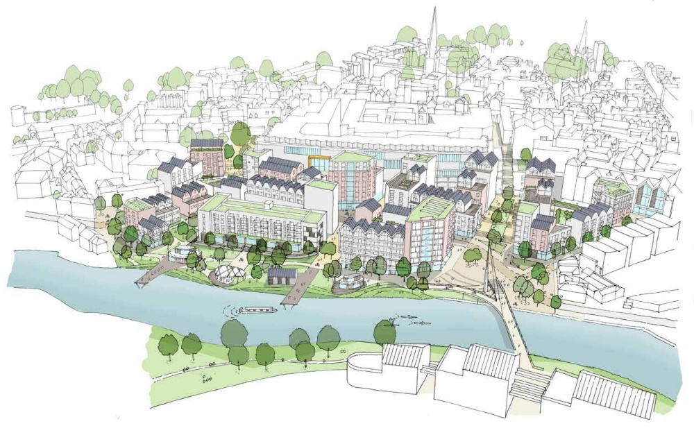 An artists' impression of how Smithfield Riverside could look in the future